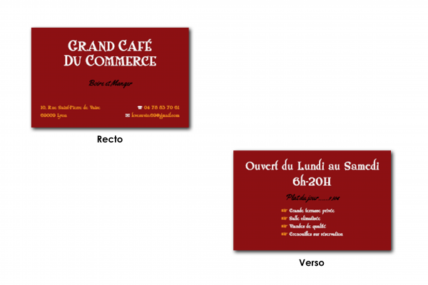 Cartes de visite-Grand Café du Commerce