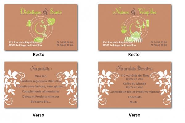 Cartes de visite Diététique et Santé et Nature et Volup'thé